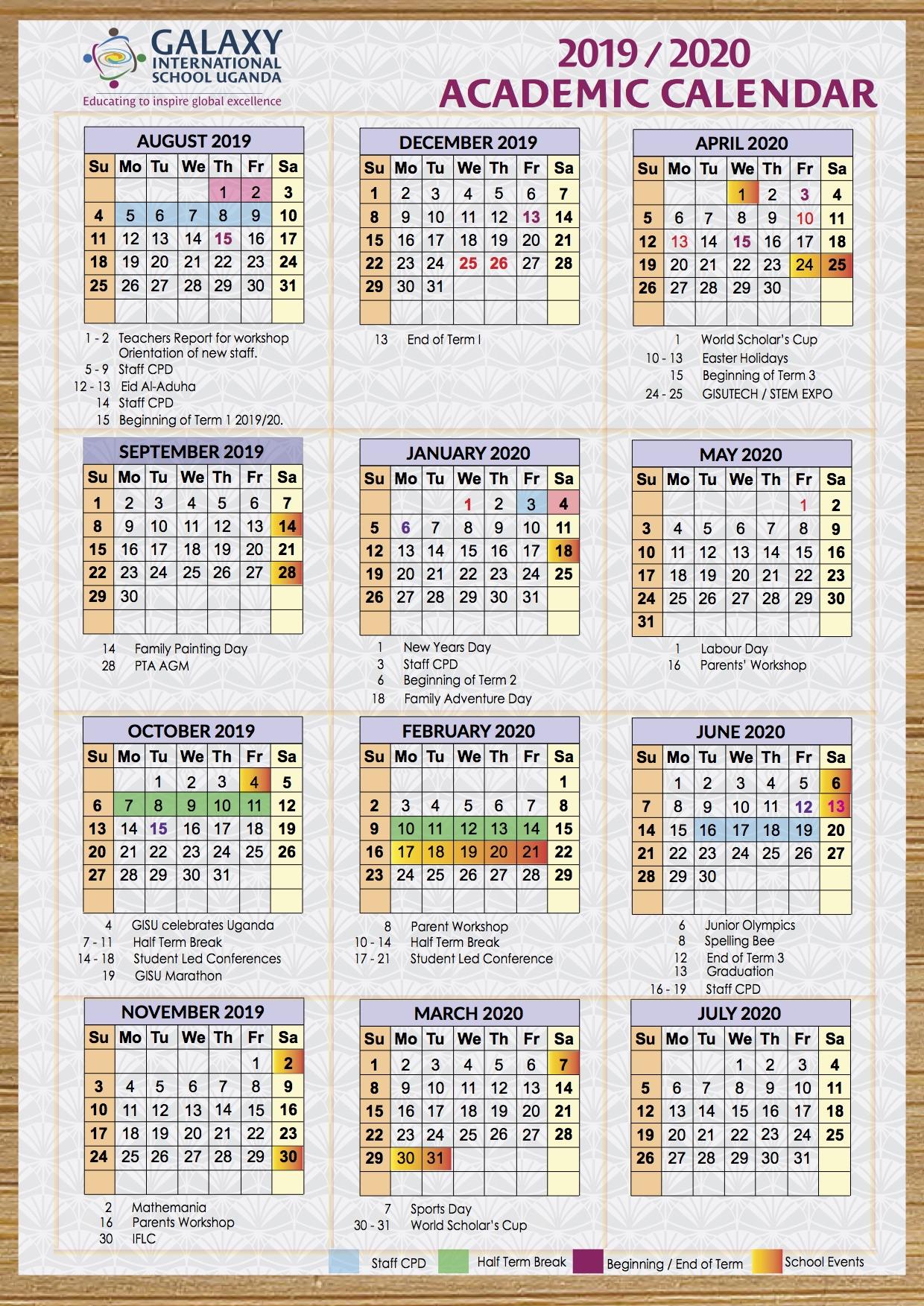 2019 2020 academic calendar